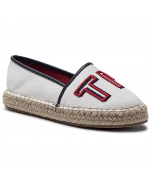 Espadryle TOMMY HILFIGER - Colorful Tommy Flat Espadrille FW0FW04166 Whisper White 121