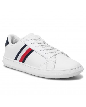 Sneakersy TOMMY HILFIGER - Essential Leather Cupsole FM0FM02388 White/Midnight 901