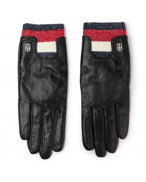 Rękawiczki Damskie TOMMY HILFIGER - Corporate Rib Leather Gloves AW0AW07557  BDS