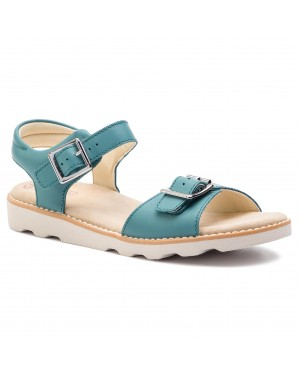 Sandały CLARKS - Crown Bloom K 261415356 Teal Leather